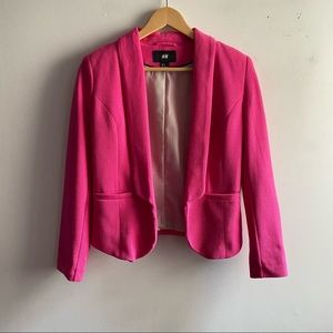 H&M hot pink textured cropped casual blazer jacket